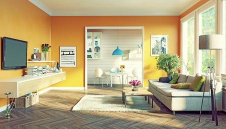 moderní obývací pokoj design interiéru. 3D vykreslování koncept