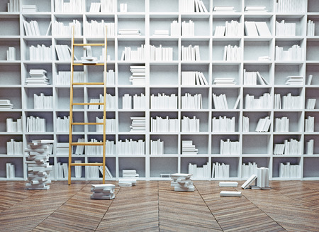 Big library interior. White books concept.3d illustration