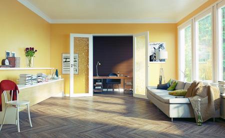 modern living room interior. 3d rendering design concept Stock Photo