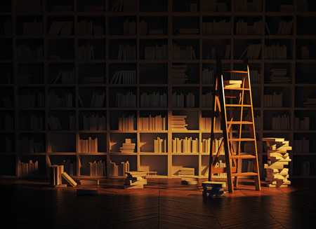 illustrated: night lighting in the library interior. 3d rendering