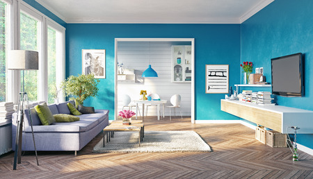 modern living room interior design. 3D rendering concept Stock Photo