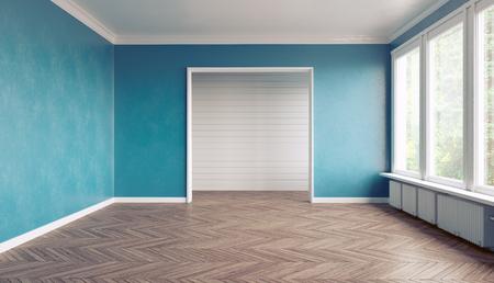 empty room: Empty blue  interior. 3D interior rendering