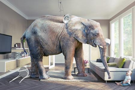 Gran elefante y el bebé en la sala de estar. concepto 3d