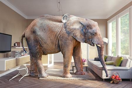 Großer Elefant und der Korb mit Äpfeln im Wohnzimmer. 3D-Konzept
