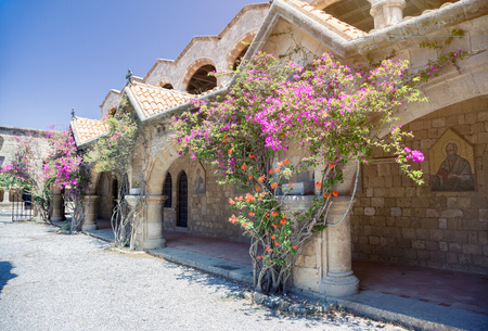 hermits: Monastery on Mount Filerimos on Rhodes in Greece built by the Knights of Saint John. Doors to hermits cells