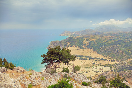 tsambika: Beautiful Tsambika viewpoint landscape from mountain .Rhodes. Greece.  HDR photo Stock Photo