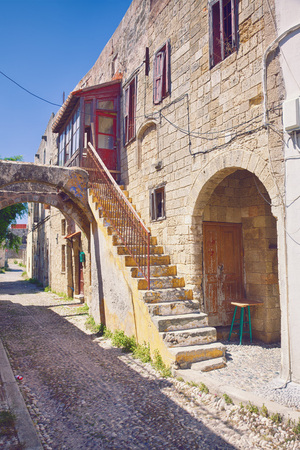 Photo of the old town  street, Rhodes island, Greece