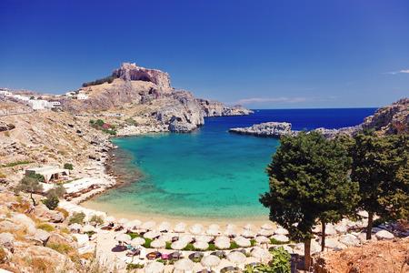 rhodes: St. Pauls Bay in Lindos, Rhodes, Greece