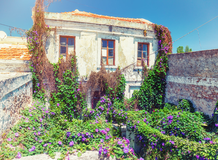 ramshackle: antique housein the colorful  village Koskinou on the island of Rhodes, Greece Stock Photo