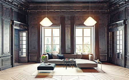 apartment living: modern style black living room apartment. 3d rendering