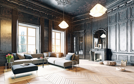 modern style black living room apartment. 3d rendering 免版税图像 - 63195339