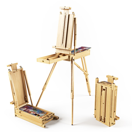 portable transforming wooden  easels isolated rendering
