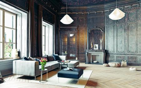 moderne stijl appartement zwarte woonkamer. 3D-rendering