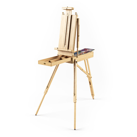 portable: portable wooden  easel isolated rendering