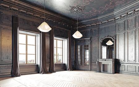modern zwart woonkamer appartement. 3D-weergave Stockfoto