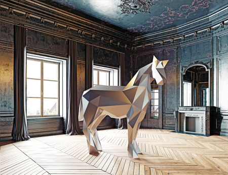 luxury homes: low-poly style horse in the luxury interior. 3d rendering concept