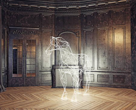 luxury homes: low-poly style glowing  horse in the luxury interior. 3d rendering concept