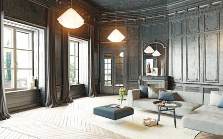 moderní styl black obývací pokoj byt. 3d rendering