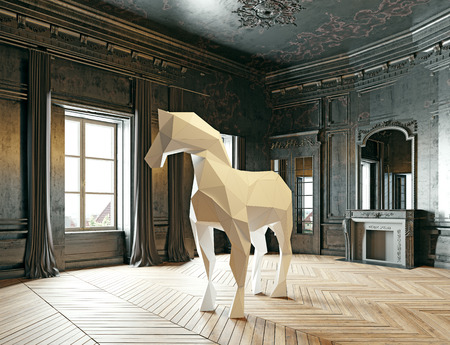 luxury interior: low-poly style horse in the luxury interior. 3d rendering concept