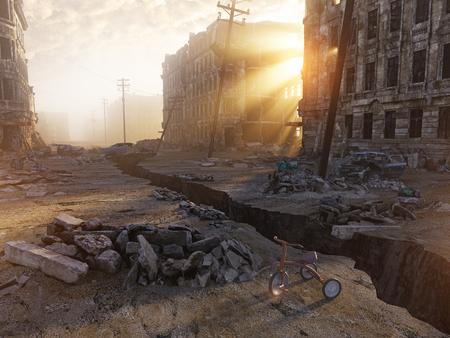 Ruinen einer Stadt mit einem Riss in der Straße. 3D-Darstellung Konzept Standard-Bild - 64633950