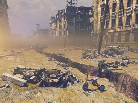 end times: ruins of a city with a crack in the street. 3d illustration concept Stock Photo