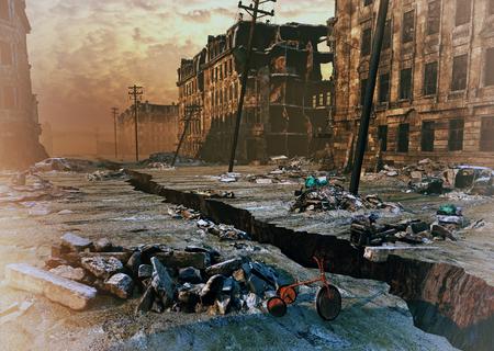 землетрясение: руины города с трещиной на улице. 3D иллюстрации концепции
