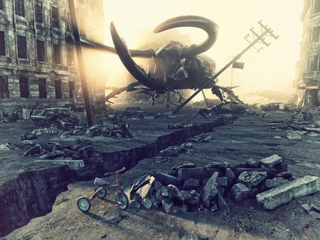 giant: Ruined city by giant insects. Apocalyptic fantasy concept. 3D rendering