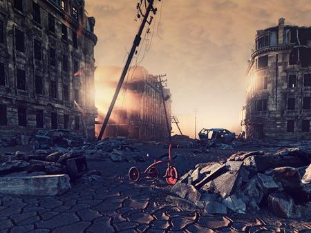 ruïnes van een stad met een scheur in de straat. 3D-afbeelding-concept Stockfoto