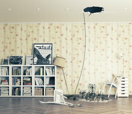 broken ceiling in the room and fallen chandelier Фото со стока