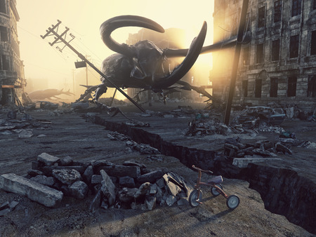 ruins: Ruined city by giant insects. Apocalyptic fantasy concept. 3D rendering