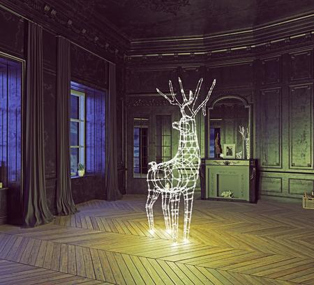 Het hert slinger in de luxe donker interieur. 3d illustratie