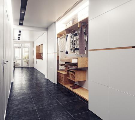 廊下のモダンなインテリア。3 D レンダリング