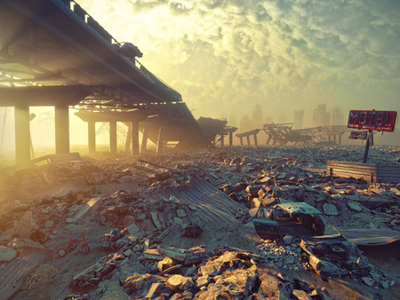 Ruins of a city. Apocalyptic landscape.3d illustration concept Standard-Bild