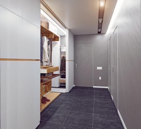 modern interior of the  hallway. 3D rendering