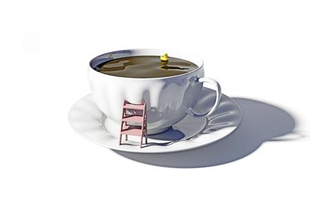 hot tub: the cup of tea as the bathtub. 3d concept