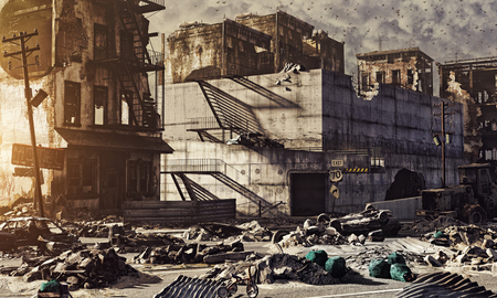 post: ruins of a city . 3d illustration concept Stock Photo
