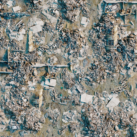 background  of the bird eye view  of the destroyed city land. 3d rendering Stock Photo