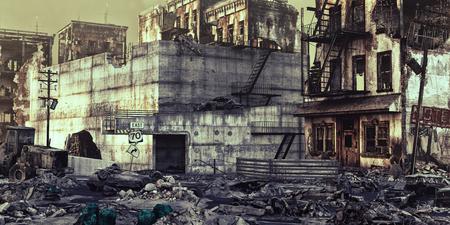 Ruinas de una ciudad. Ilustración del concepto 3d Foto de archivo - 69659387