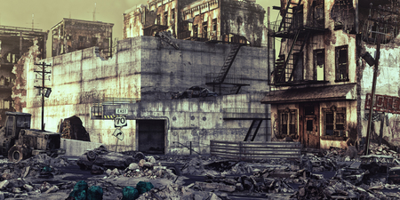 havoc: ruins of a city . 3d illustration concept Stock Photo