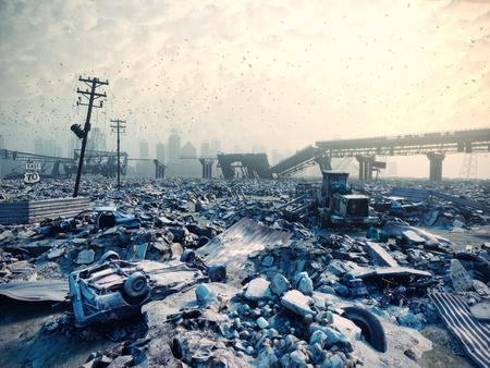 Rovine di una città. Disaster landscape.3d illustrazione concetto Archivio Fotografico