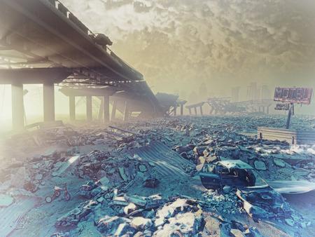 L'hiver nucléaire. illustration concept de Apocalyptique landscape.3d Banque d'images