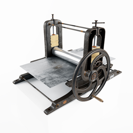 vintage printing press machine isolated. 3d rendering Stock Photo