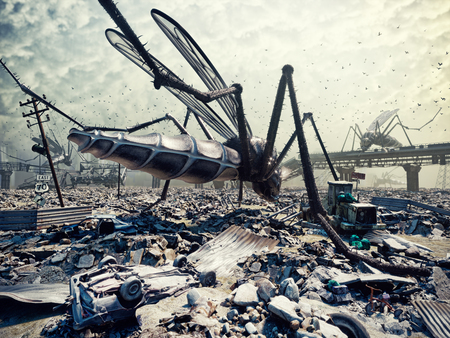 Giant insects destroy the city. 3D concept 版權商用圖片 - 71054015