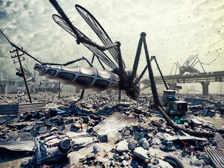 Insectos gigantes destruyen la ciudad. concepto 3D Foto de archivo - 71054015