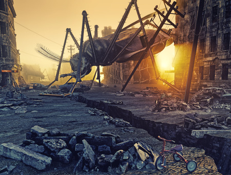 ruins: Giant insects destroy the city. 3D concept Stock Photo