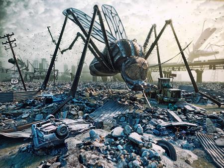 Gli insetti giganti distruggono la città. Concetto 3D