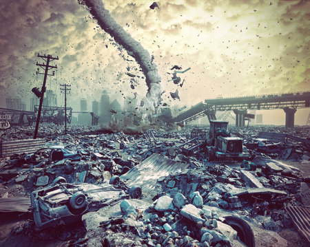 havoc: Ruins of a city and tornado. Disaster landscape.3d illustration concept