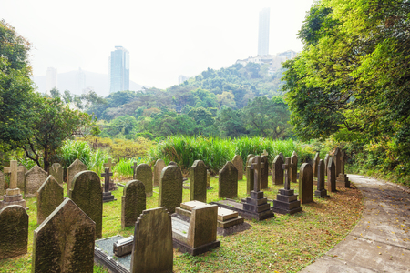 fog morning in the old Hong Kong Cemetery