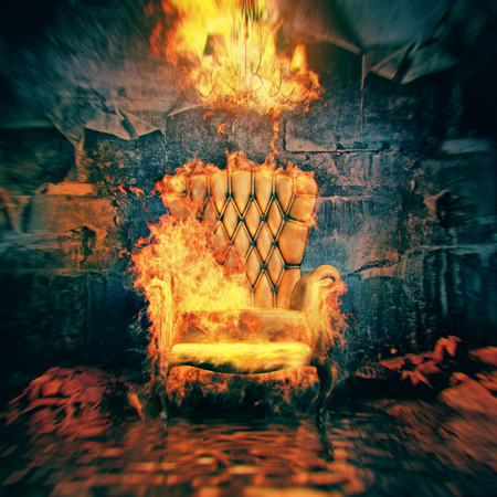 burning armchair in destroyed room . 3d illustration concept Stock Photo