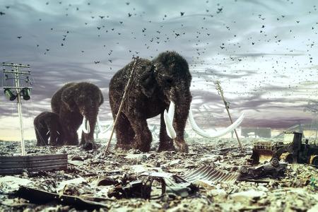De familie van mammoeten wandelt door de verwoeste stad. 3d concept. lensvervaging en ruis toegevoegd